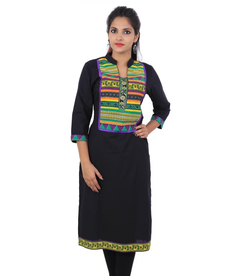 Solid Black Women Straight  Kurta