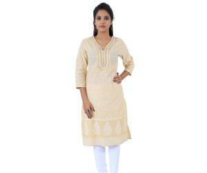Cream Floral Printed Long Cotton Women's Kurti