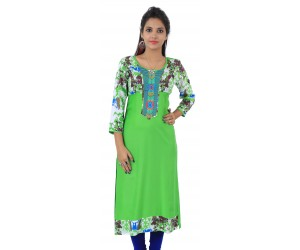 Parrot Green Embroidered Long Viscose Women's Kurti