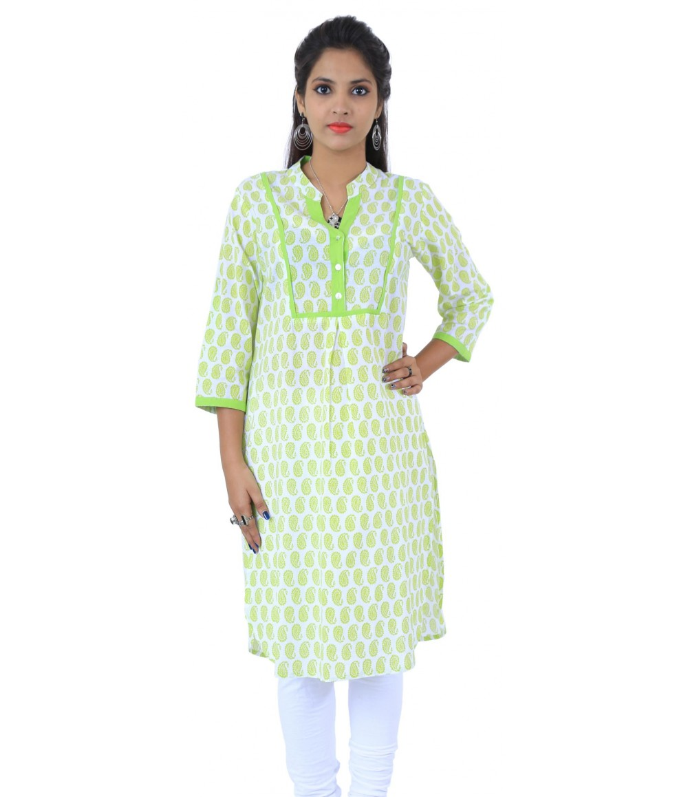 Lemon Green Block Printed Long Cotton Women's Kurti