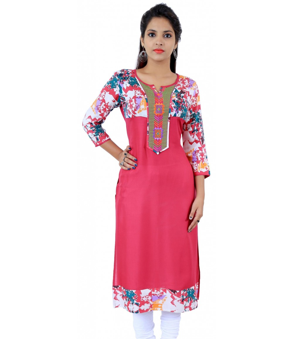 Pink Printed Embroidered Round Neck Viscose Women's Kurti