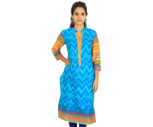 Digital Printed Blue Women Kurti
