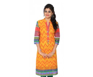 Digital Printed Orange Women Kurti