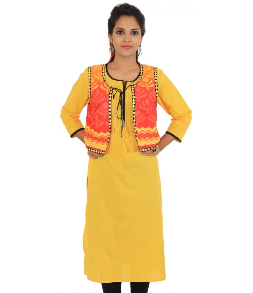 Digital Printed Yellow Jacket Style Women Kurti