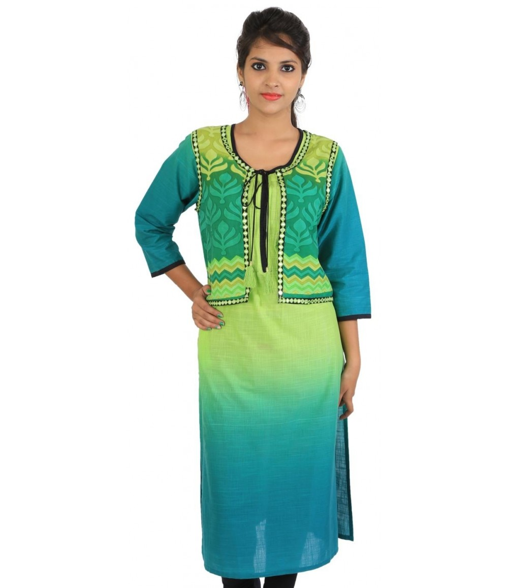 Digital Printed Blue Jacket Style Women Kurti