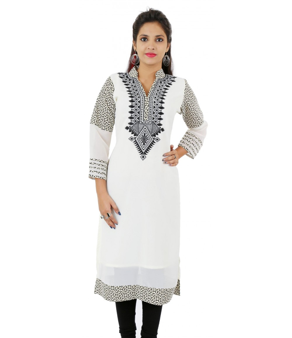 Printed White Embroidered Long Georgette Women's Kurti