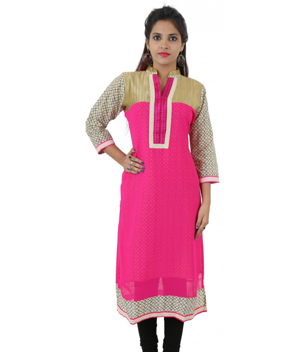 Printed Pink Lace Work Long Georgette Women's Kurti
