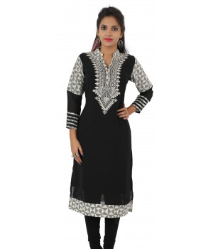 Printed Black Embroidered Long Georgette Women's Kurti