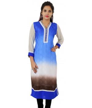 Blue Printed Lace Work Long Georgette Women Kurti