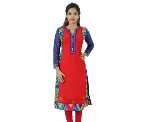 Printed Red Embellished Long Georgette Women's Kurti