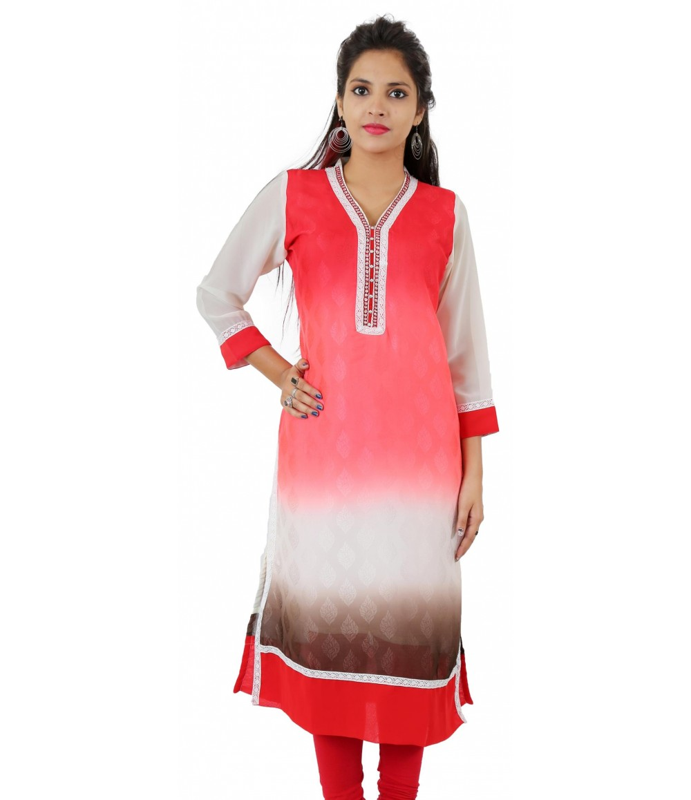 Red Printed Lace Work Long Georgette Wome's Kurti