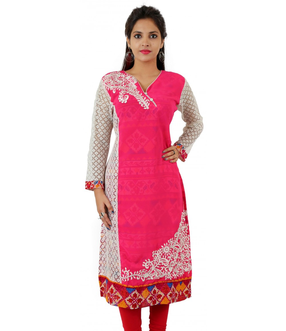 Printed Pink Embroidered Long Georgette Wome's Kurti