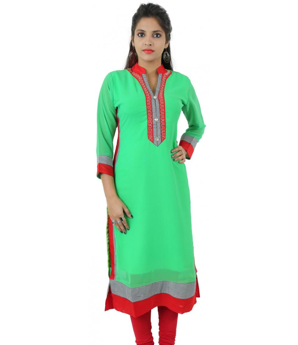 Solid Parrot Green Embellished Long Georgette Women's Kurti