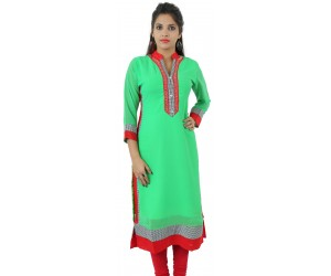 Solid Parrot Green Embellished Long Georgette Women's Kurti
