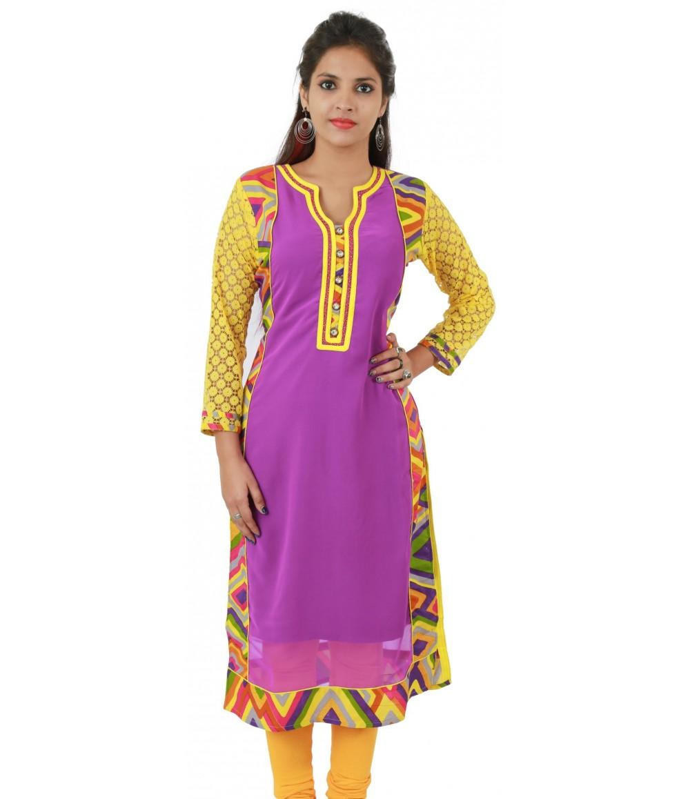 Purple printed Embellished Long Georgette Women's Kurti