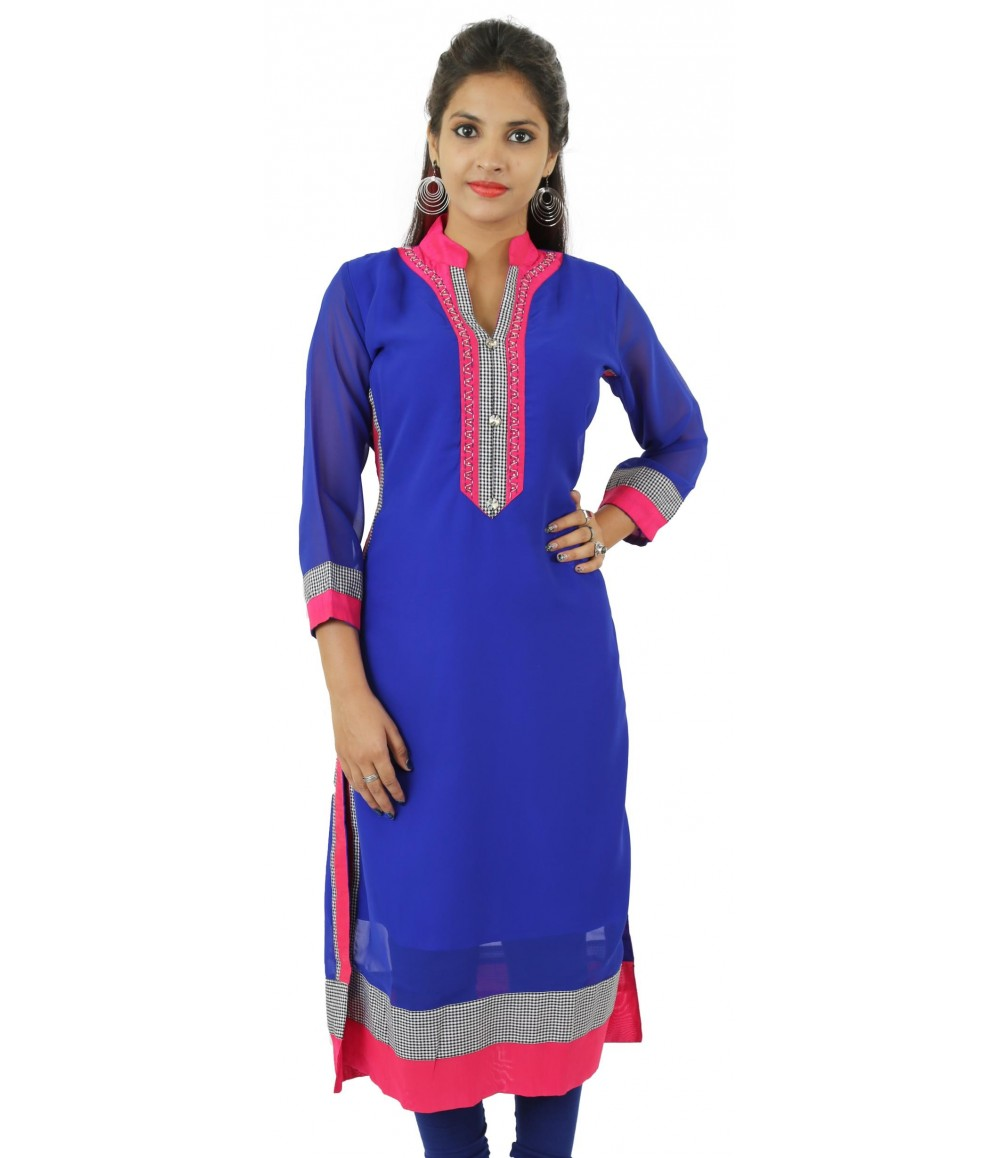 Solid Royal Blue Embellished Long Georgette Women's Kurti
