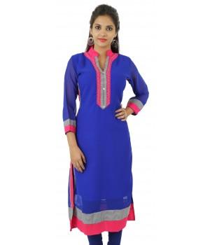 Solid Royal Blue Embellished Long Georgette Women's Kurti