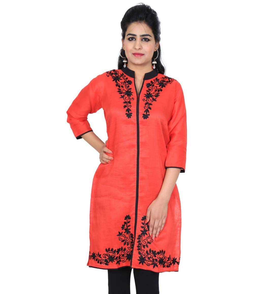 Solid Embroidered Red Rene Kurti