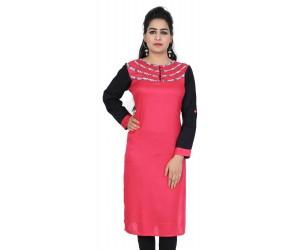 Rayon Solid Pink Designer Kurti