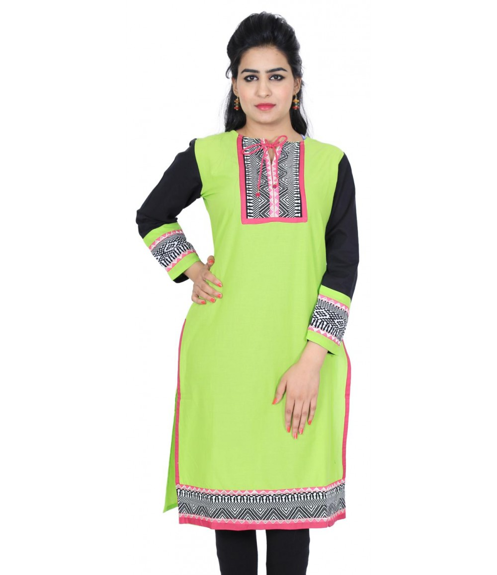 Lime Green Solid Designer Cotton Kurti