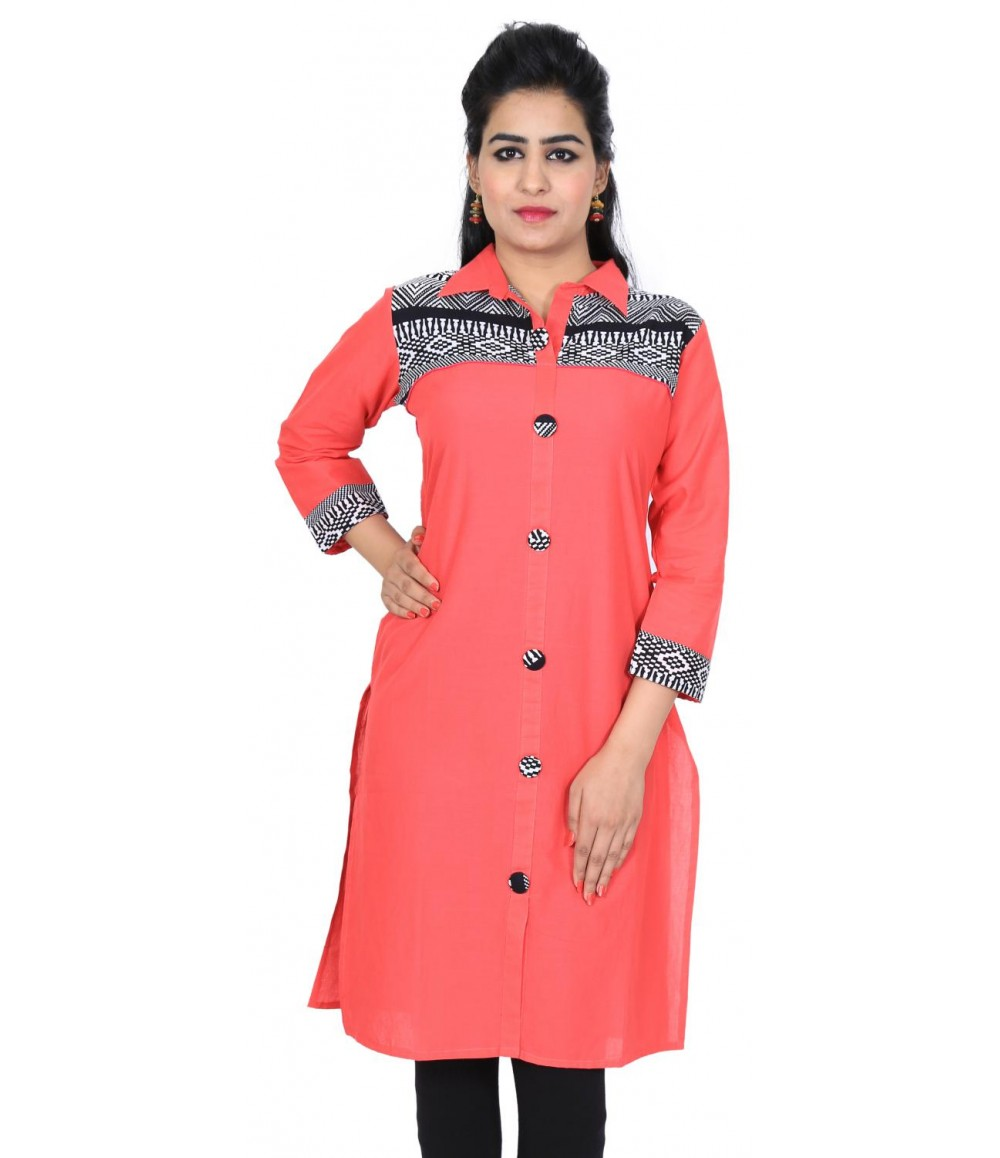 Solid Red Women Cotton Kurti
