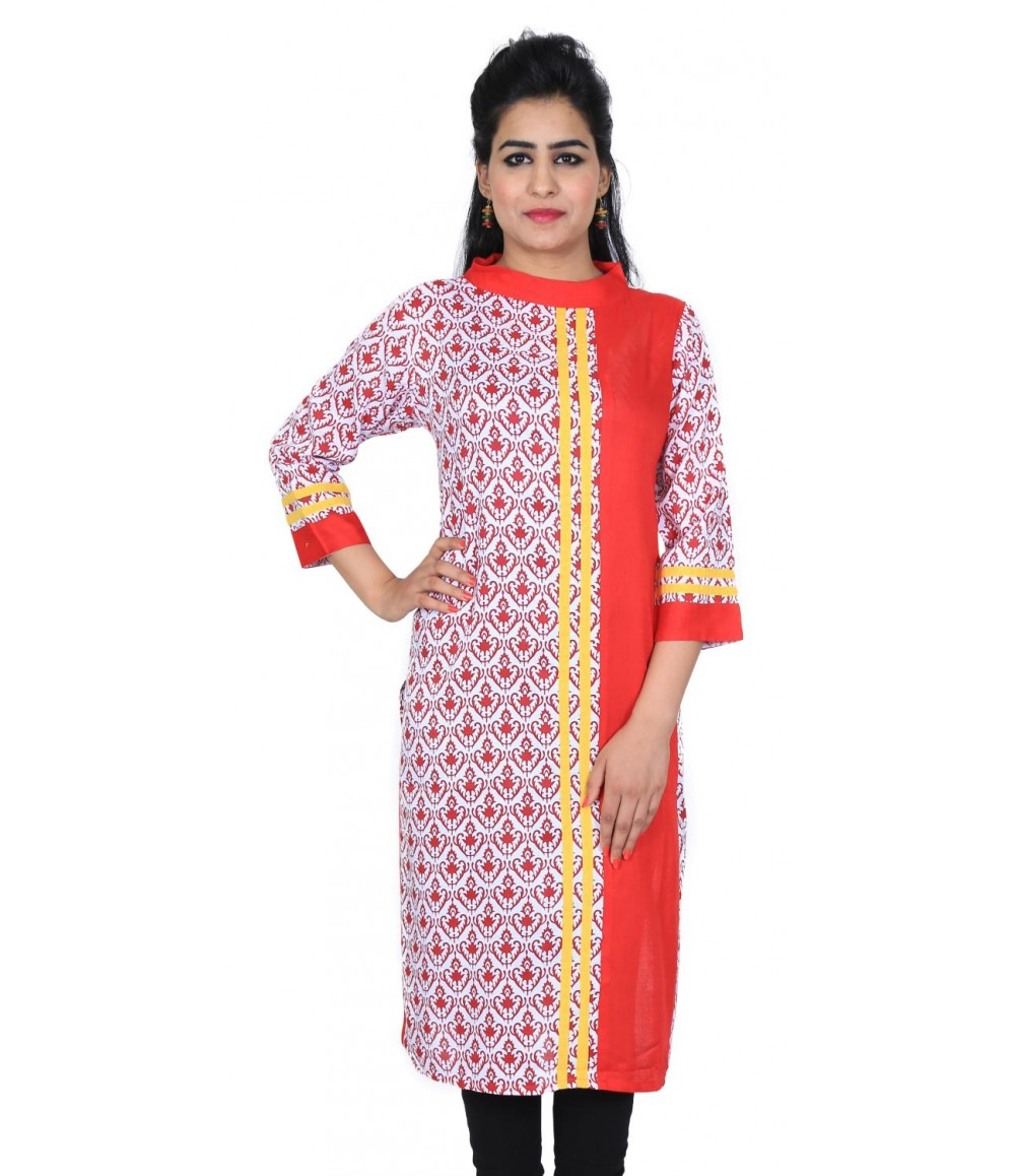 Designer Half-Printed Red Women's Kurti