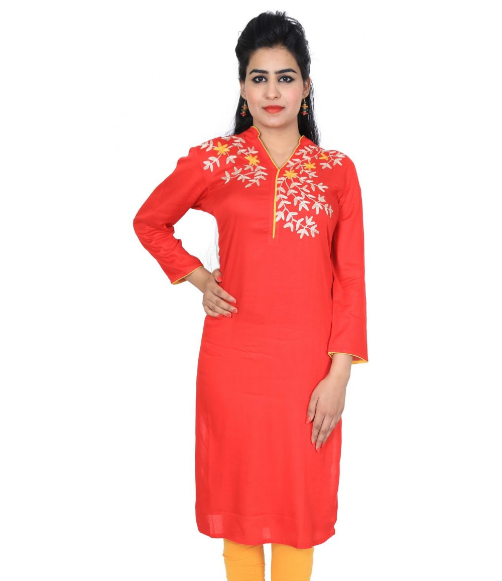 Solid Red Embroidered Women's Kurti