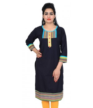 Black Round Neck Women's cotton Kurti