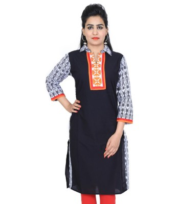 Black Collar Neck Casual Cotton Women's Kurti