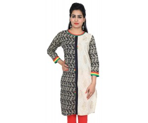 Printed Black and White Cotton Kurti