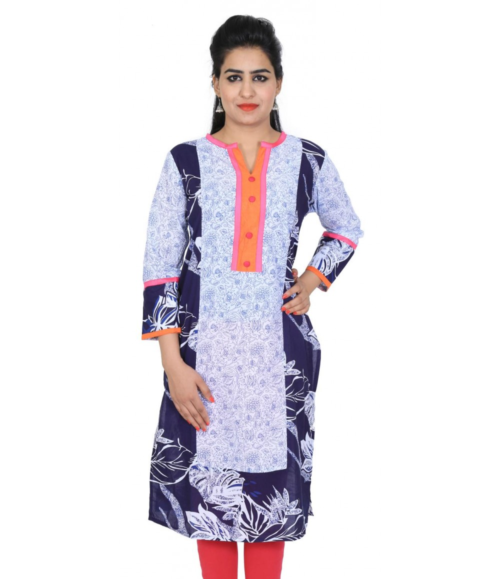 Floral Printed Blue White Long Women Kurti