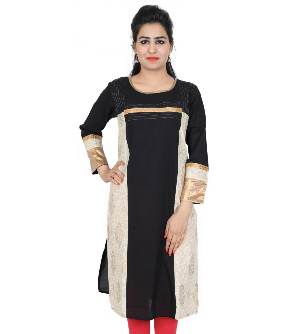 Solid Black Cotton Round Neck Women Kurti