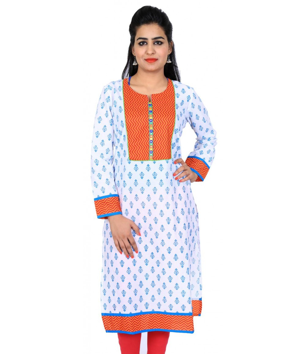 White Printed Round Neck Women Ethnic Kurti