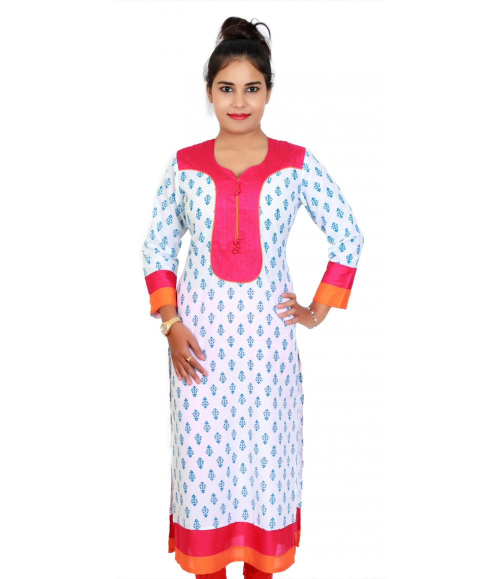 Printed White Orange Sweetheart Neck Kurti