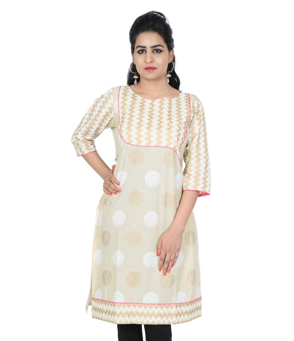 Printed Designer Beige Women Ethnic Kurti