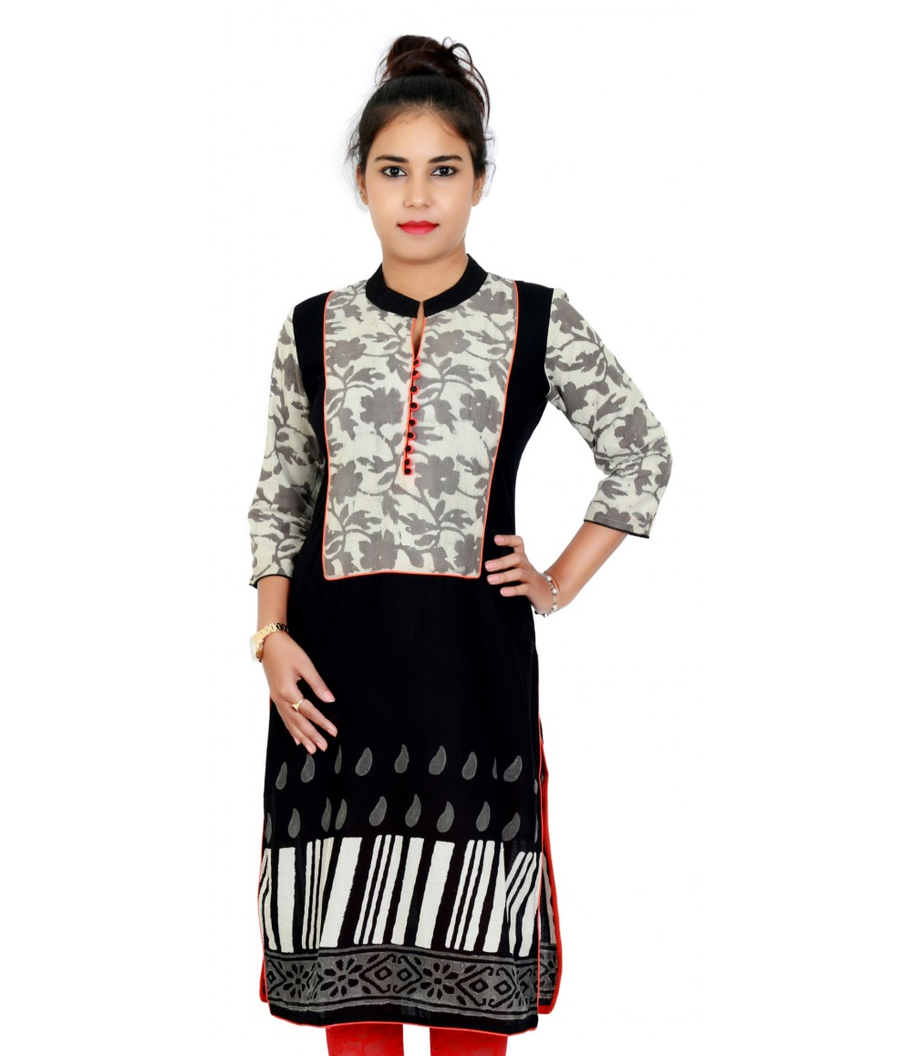 Floral With Stripe Print black Designer Kurti