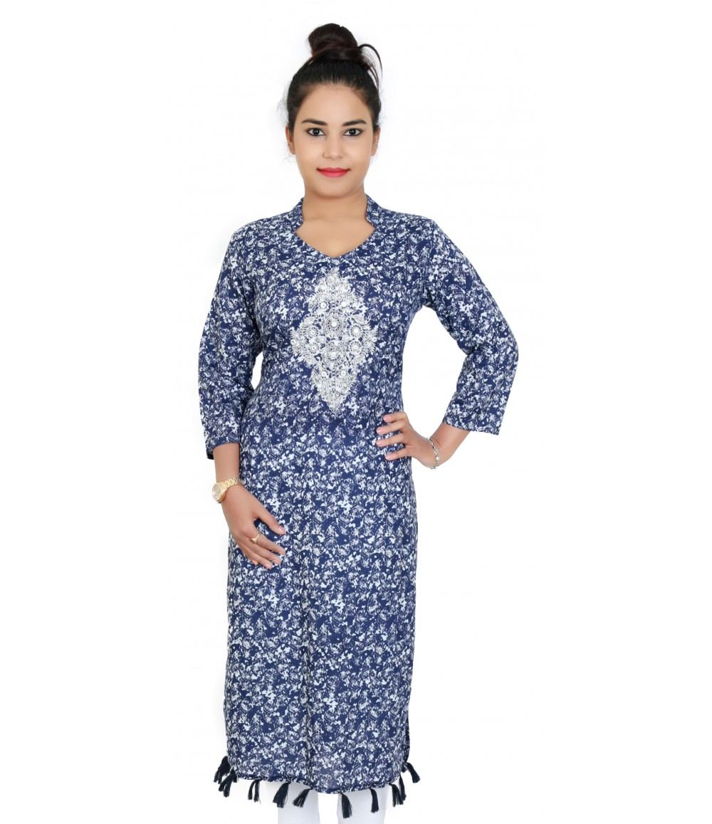 Designer Navy Blue Printed Kurti With Embroidery