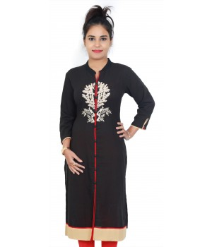 Embroidered Black Cotton Standing Collar Kurti