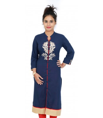 Navy Blue Plain Dyed Kurti with Neck Embroidery