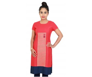 Red Cotton Embroidered Short Sleeves Kurti With Blue Bottom Line