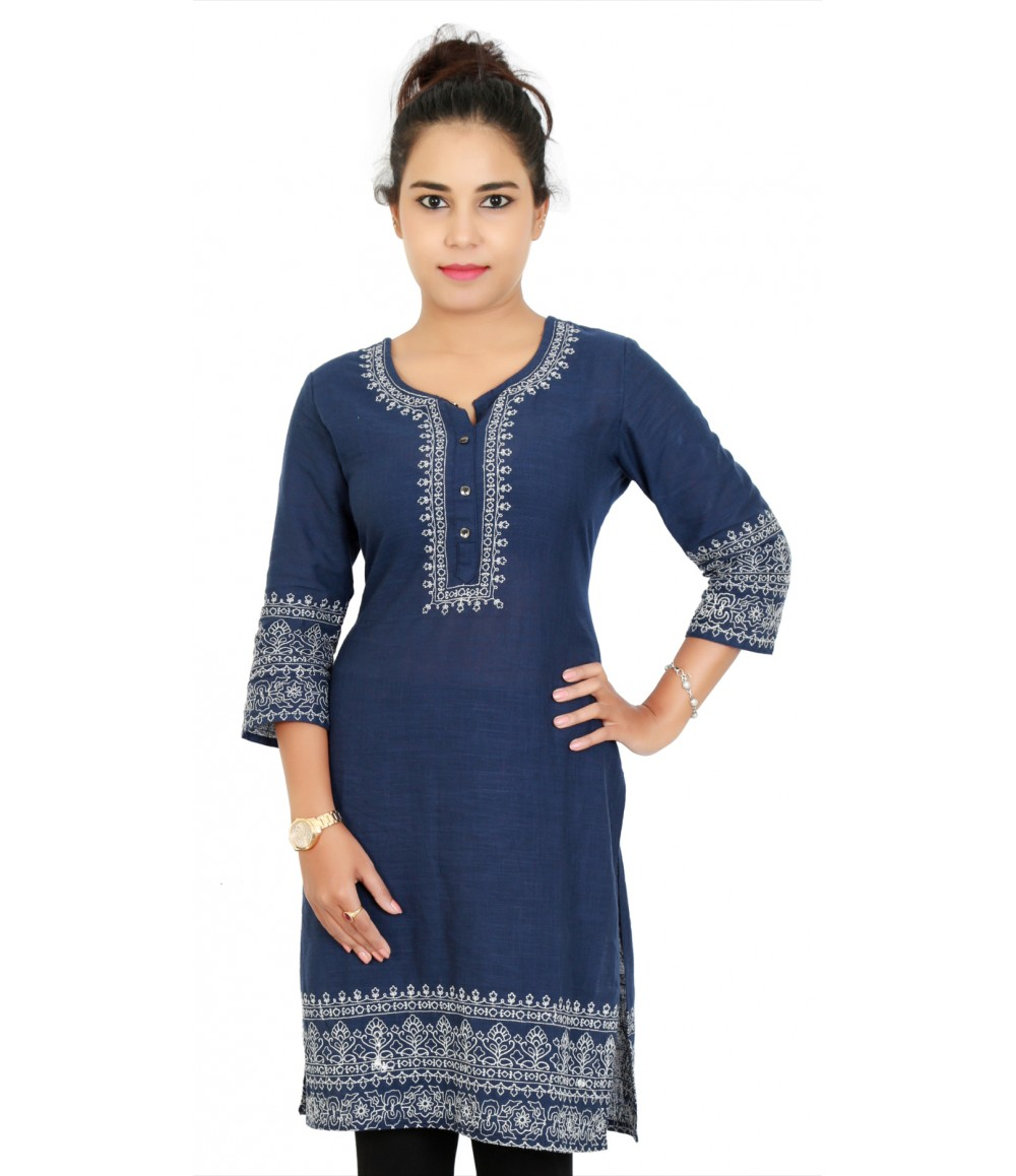 Embroidered Cotton Navy Blue Medium Cut Kurti With Button Style Neck