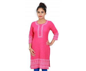 Solid Pink Embroidered Round Neck Kurti