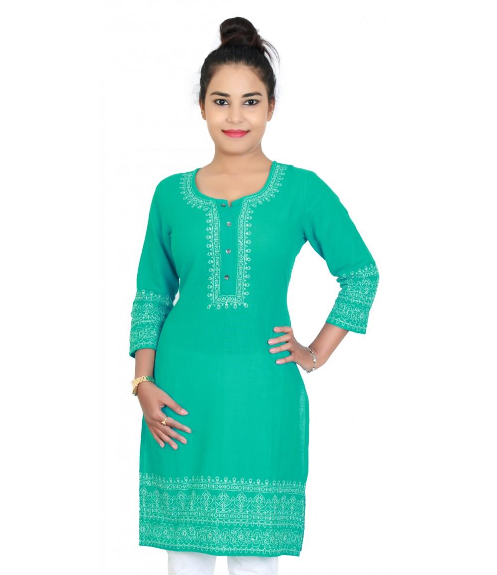 Medium Cut Greenish Blue Cotton Kurti With Embroidery