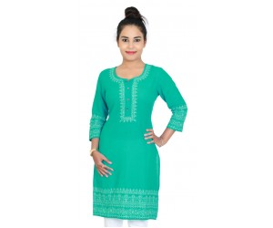 Medium Cut Greenish Blue Cotton Kurti With Embroidery
