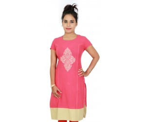 Solid Embroiderd Cotton Carrot Color Women Kurti