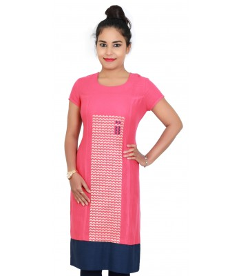 Carrot Color Embroidered Round Neck Kurti With Blue Bottom Line