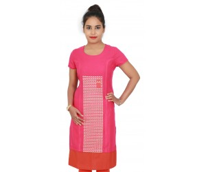 Embroidered Pink cotton Women Kurti with Red Bottom Line