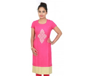 Solid Round Neck Embroidered Pink Cotton Kurti