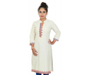 Cream Color Cotton Kurti With Multicolored Neck Embroidery