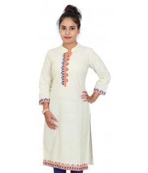 Cream Color Cotton Kurti With Multicolored Neck Embroidery